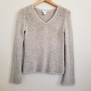 Ann Taylor Loft V Neck Beige Sweater Small